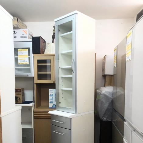 リサイクル & アウトレット はっぴー 美品!高級 大川家具モーブル40cm幅スリム食器棚・カップボード・隙間家具