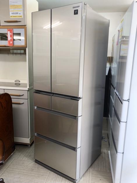 リサイクル & アウトレット はっぴー 【新品同様】シャープ 高級ガラストップ 2019年製 455Lノンフロン冷凍冷蔵庫シャンパンゴールド