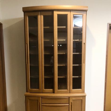 リサイクル & アウトレット はっぴー 【超美品】高級♪ 天然木製 90cm幅カップボード 食器棚 キッチン収納家具 ナチュラルブラウン♪