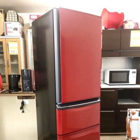リサイクル & アウトレット はっぴー 【美品】三菱 2015年製 370Lノンフロン冷凍冷蔵庫 イタリアンレッド♪
