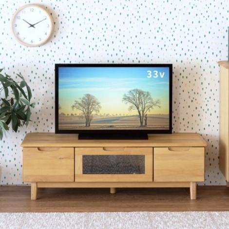 リサイクル & アウトレット はっぴー 【超美品】北欧風♪ アルダー無垢材 120cm幅ローボード テレビ台 ナチュラルブラウン♪