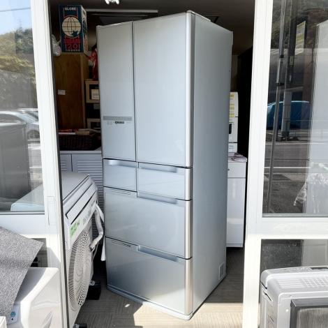 リサイクル & アウトレット はっぴー 【超美品】高級♪ 日立 2013年製 475Lノンフロン冷凍冷蔵庫 ガラスドア クリスタルシルバー